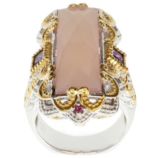 Michael Valitutti Two-tone Rose de France, Amethyst and Sapphire Ring