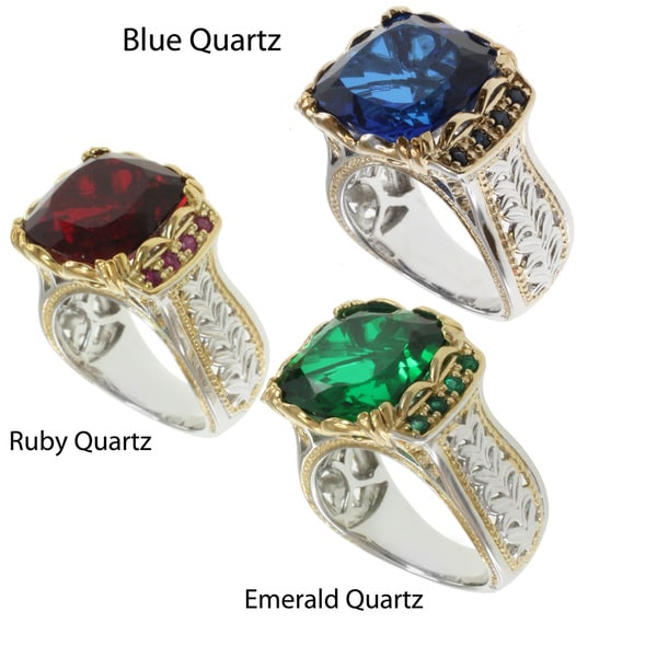 Michael Valitutti Two-tone Quartz Doublet and Sapphire, Ruby or Emerald Ring
