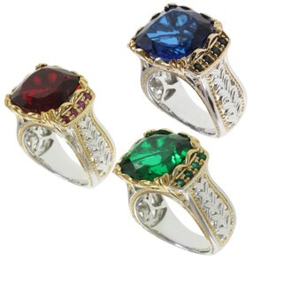 Michael Valitutti Two-tone Quartz Doublet and Sapphire, Ruby or Emerald Ring (2 options available)