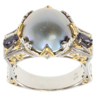 Michael Valitutti Two-tone Mabe Pearl, Iolite and White Sapphire Ring