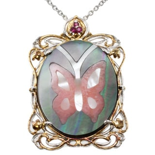 Michael Valitutti Two-tone Mother of Pearl and Ruby Pendant