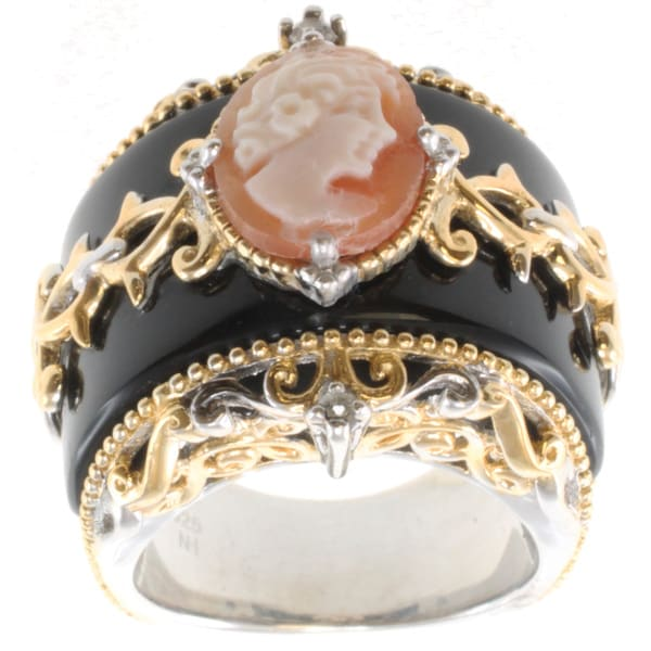Michael Valitutti Two-tone Cameo, Black Onyx and White Sapphire Ring