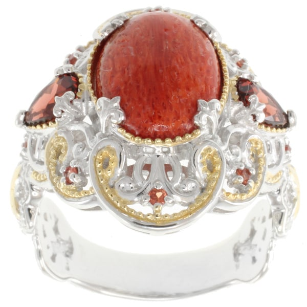 Michael Valitutti Two-tone Red Mohave Turquoise and Garnet Ring