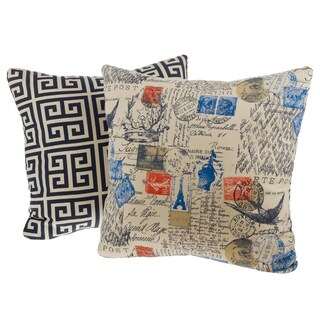 Bon Soir Reversible Square Decorative Pillows (Set of 2)