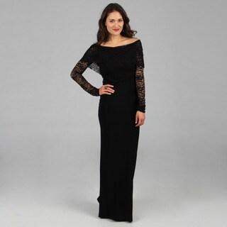 Tabeez Women's Black Lace Top Gown