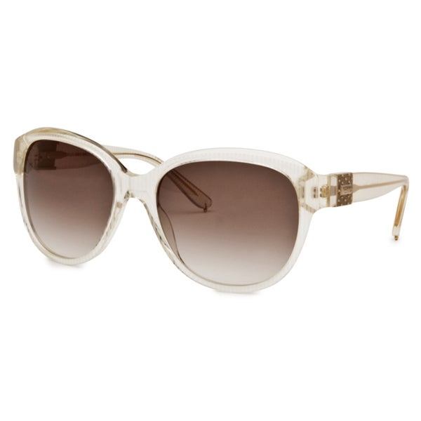 Chloe Women's Light Transparent Gold Striped Fashion Sunglasses