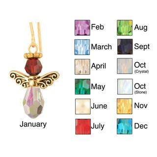Small Crystal Birthstone Angel Earrings