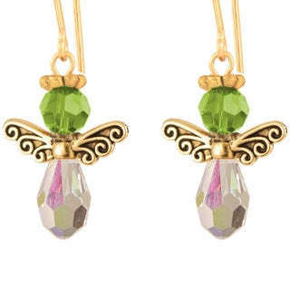 Small Crystal Birthstone Angel Earrings