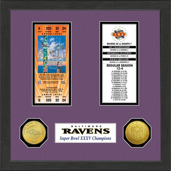 Baltimore Ravens NFL SB Ticket/Game Coin Frame
