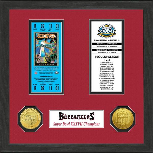 Tampa Bay Buccaneers NFL SB Ticket/Game Coin Frame