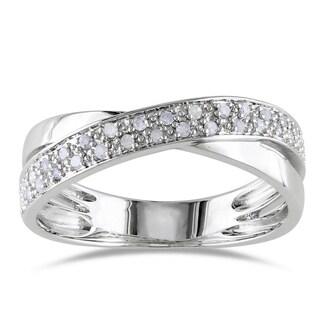 Miadora Sterling Silver 1/6ct TDW White Diamond Ring