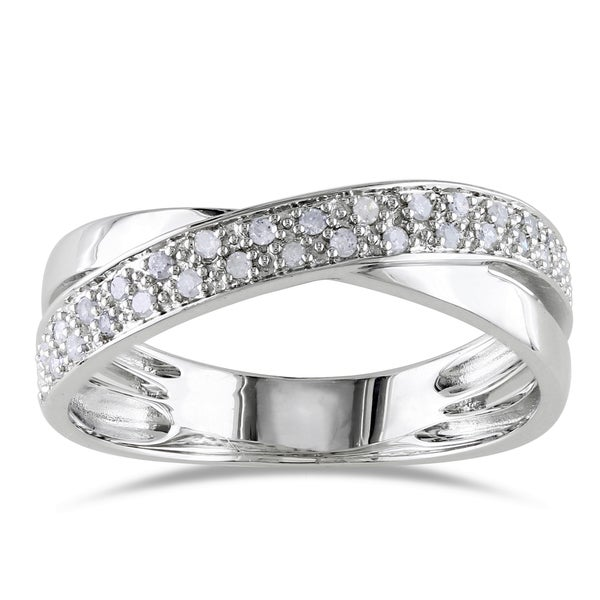Miadora Sterling Silver 1/6ct TDW White Diamond Ring
