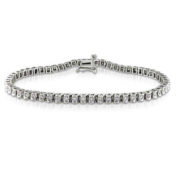 Miadora 14k White Gold 1ct TDW Diamond Tennis Bracelet (I-J, I2-I3)