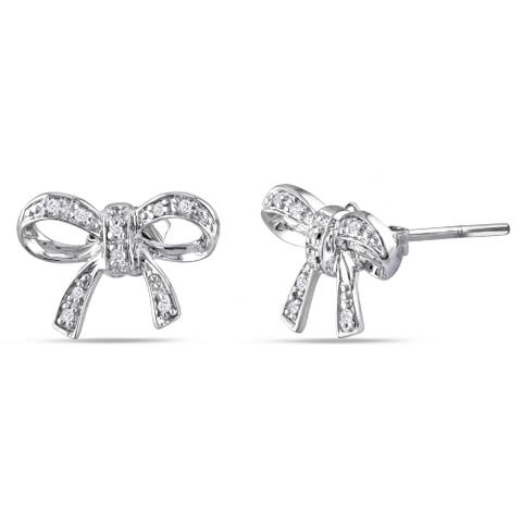 Miadora Sterling Silver Diamond Accent Bow Stud Earrings