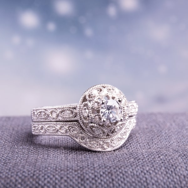 Miadora Sterling Silver Created-white-sapphire and 1/10ct TDW Diamond Bridal Ring Set