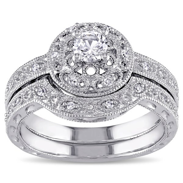 Miadora Sterling Silver Created-white-sapphire and 1/10ct TDW Diamond Bridal Ring Set (G-H, I1-I2)