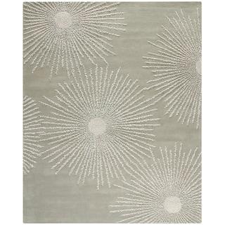 Safavieh Handmade Soho Burst Green/Grey New Zealand Wool Rug