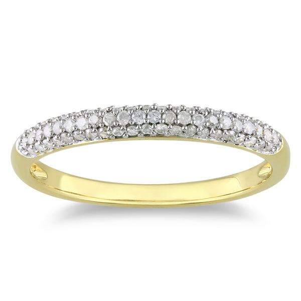 Miadora Yellow Rhodiumplated Silver 1/4ct TDW Diamond Ring (H-I, I2-I3)