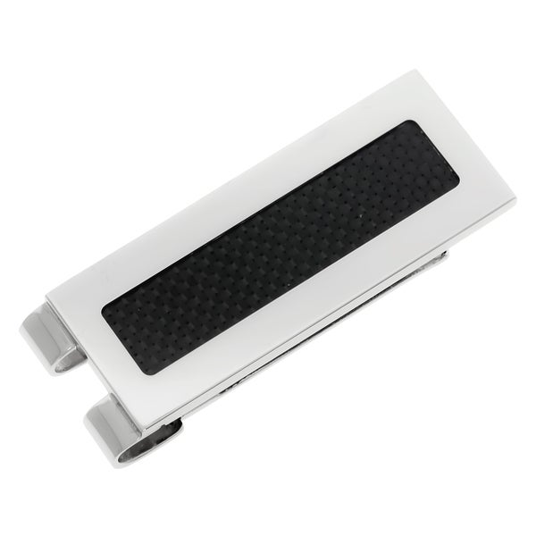 Men's Stainless Steel Carbon Fiber Accent Money Clip