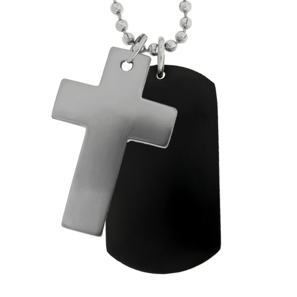 Men's Stainless Steel 2-piece Cross Dog Tag Necklace