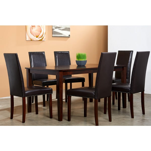 Warehouse of Tiffany Blazing Dark Brown 7-piece Dining Table and Chairs Set