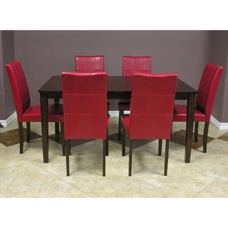 Warehouse of tiffany evellen red 7 piece dining table and for Makeup by tiffany d dining room