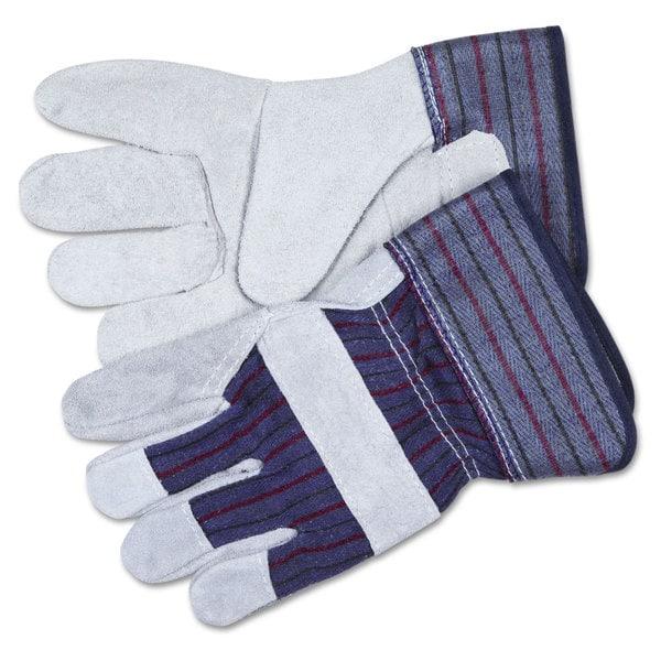 MCR Safety Split Leather Palm Gloves- Gray. Opens flyout.