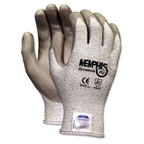 Memphis Dyneema Polyurethane Gloves, Large, White/Gray, Pair