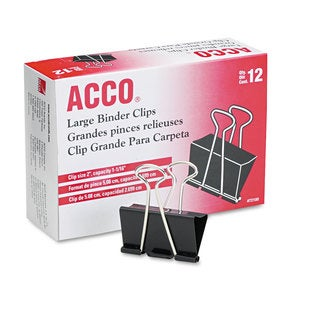 Acco Large Steel Black/ Silver Binder Clips (Pack of 4)
