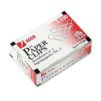 Acco Smooth Economy Paper Clips Steel Wire No. 1 (50 boxes of 100)