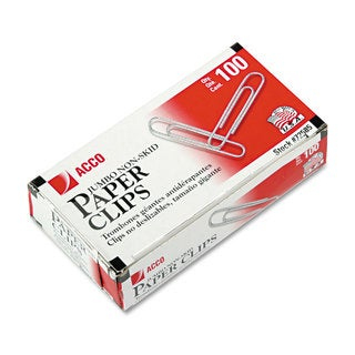 Acco Jumbo Nonskid Silver Economy Paper Clips (Pack of 20)