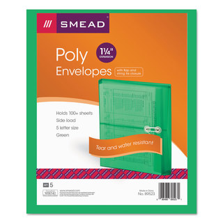 Smead Green Poly String & Button Booklet Envelopes (Pack of 3)