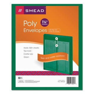 Smead Poly String & Button Green Envelopes (Pack of 3)