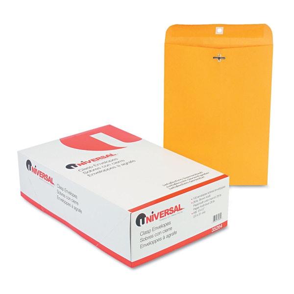 Universal Kraft Clasp Envelope, Center Seam, 28lb, 9 x 12, 100/Box
