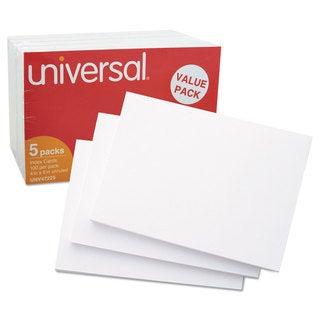 Universal Unruled Index Cards 4 x 6 White (Pack of 4)