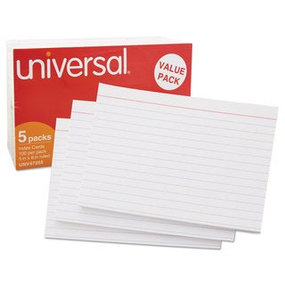 Universal Ruled White 5 x 8 Index Cards (Pack of 2)