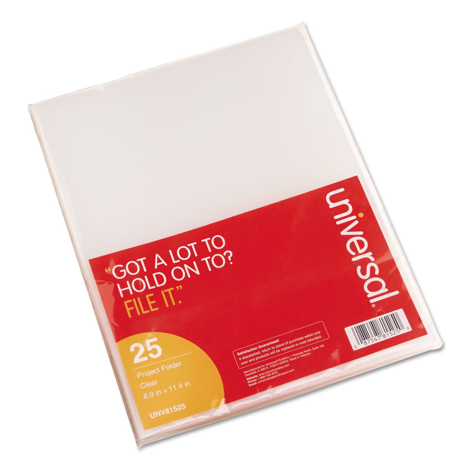 UB Universal Project Folders Jacket Poly Letter, Clear