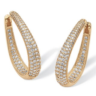 8.10 TCW Cubic Zirconia 14k Yellow Gold-Plated Oval-Shape Inside-Out Hoop Earrings