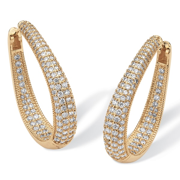 PalmBeach 8.10 TCW Cubic Zirconia 14k Yellow Gold-Plated Oval-Shape Inside-Out Huggie Hoop Earrings Glam CZ