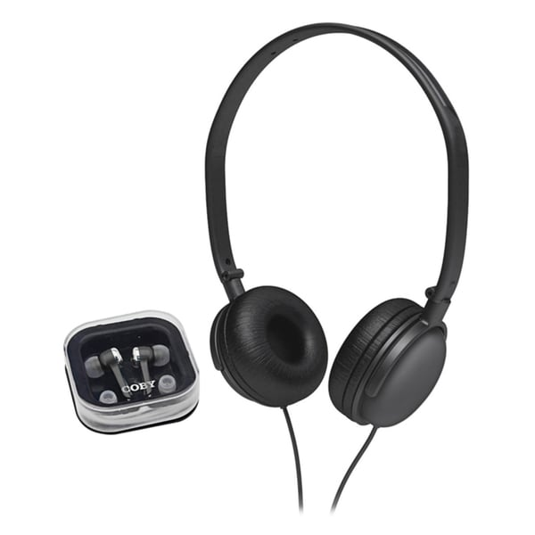Coby CV140BLACK 2-in-1 Combo DJ Style Stereo Headphones
