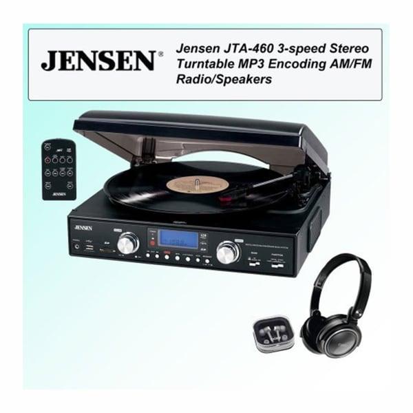 Jensen JTA-460 MP3 3-Speed Stereo Turntable with Headphone Kit