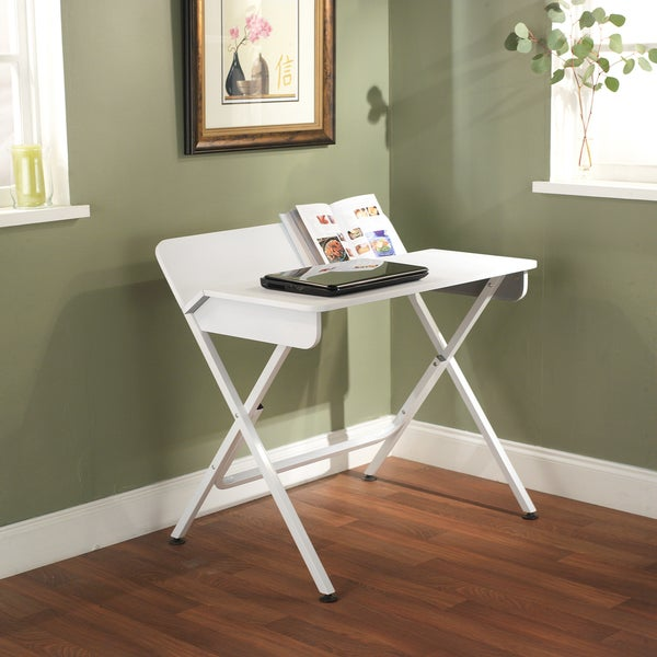 Simple Living White Computer Desk with Back Shelf