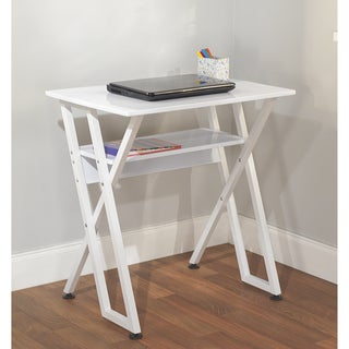 Simple Living White Computer Desk with Shelf