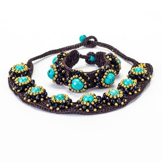 Turquoise, Crystal and Brass Bead Wax Cord Necklace and Bracelet Set (Thailand)