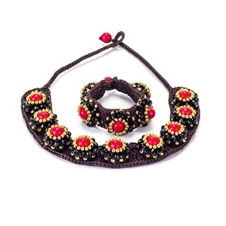 Red Coral, Crystal and Brass Bead Wax Cord Necklace and Bracelet Set (Thailand)