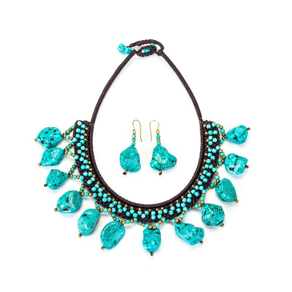 Turquoise and Brass Bead Necklace and Earrings Set (Thailand)