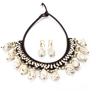 White Turquoise and Brass Bead Necklace and Earrings Set (Thailand)