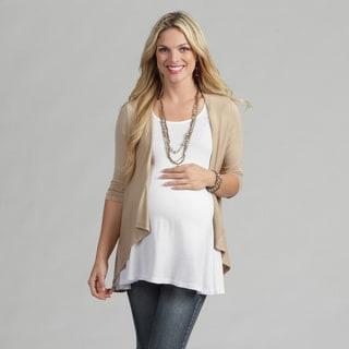 24/7 Comfort Apparel Women's Maternity 3/4-sleeve Open Shrug (Option: Brown)