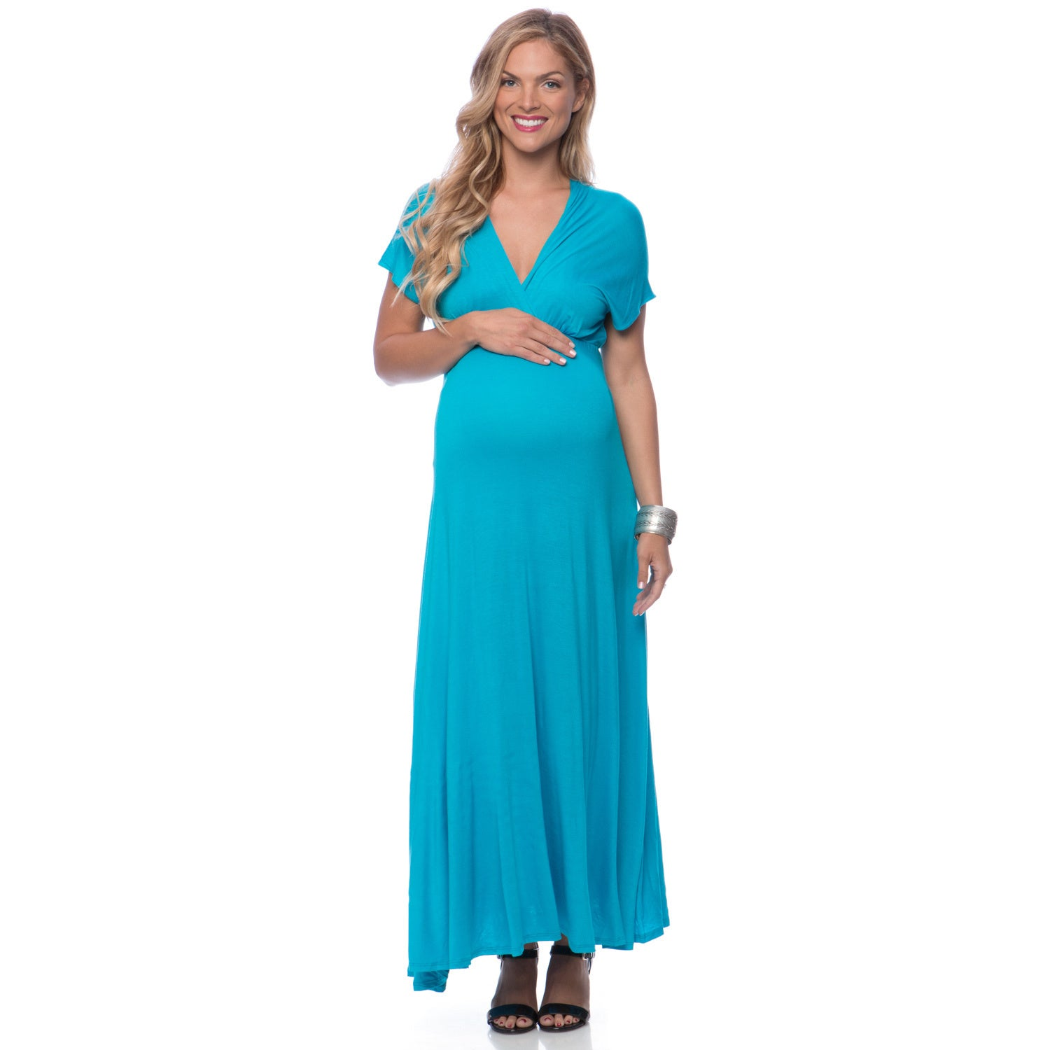 24/7 Comfort Apparel Women's Maternity Faux Wrap Maxi Dre...