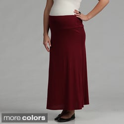 24/7 Comfort Apparel Women's Maternity Maxi Skirt (Option: Brown)